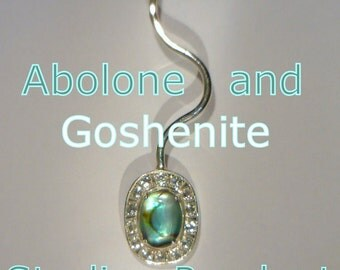 Abolone Shell with Goshenite Beryl Halo Handmade Sterling Silver Ladies Pendant