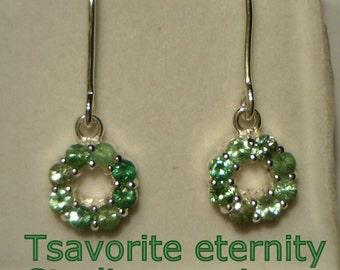 Tsavorite Garnet Handmade Sterling Silver Eternity Circle Dangle Ladies Earrings