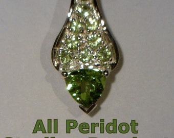 All Green Peridot Gemstones Handmade Sterling 925 Silver Ladies Pendant