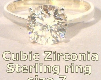 Cubic Zirconia Round Gemstone Ladies Handmade Sterling 925 Silver Ring size 7