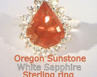 Oregon Sunstone and White Sapphire Halo Handmade 925 Silver Ladies Ring size 8.5