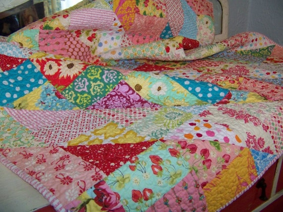 Sweet 'n Scrappy Baby Girl or Toddler Quilt - Designer Fabrics