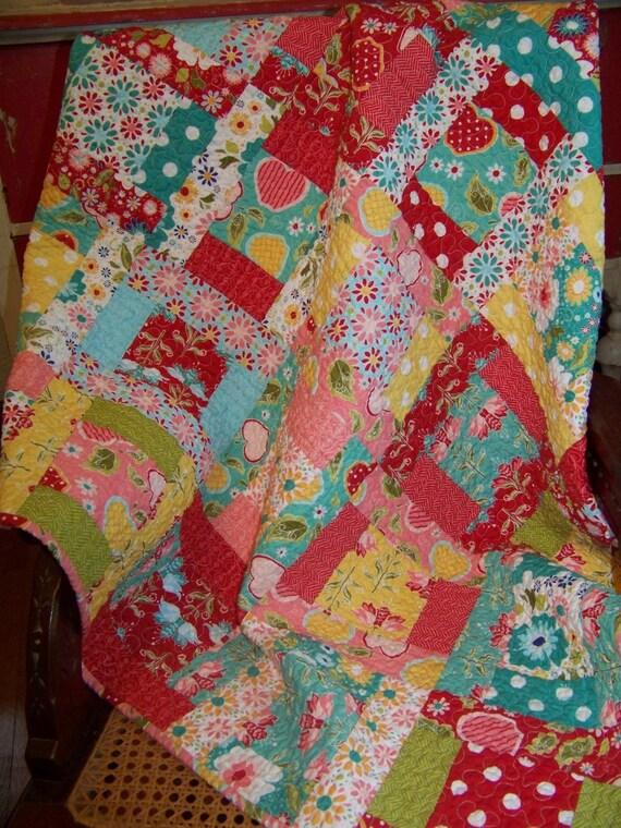 Apple of My Eye Baby Girl or Toddler Quilt - Riley Blake Designs