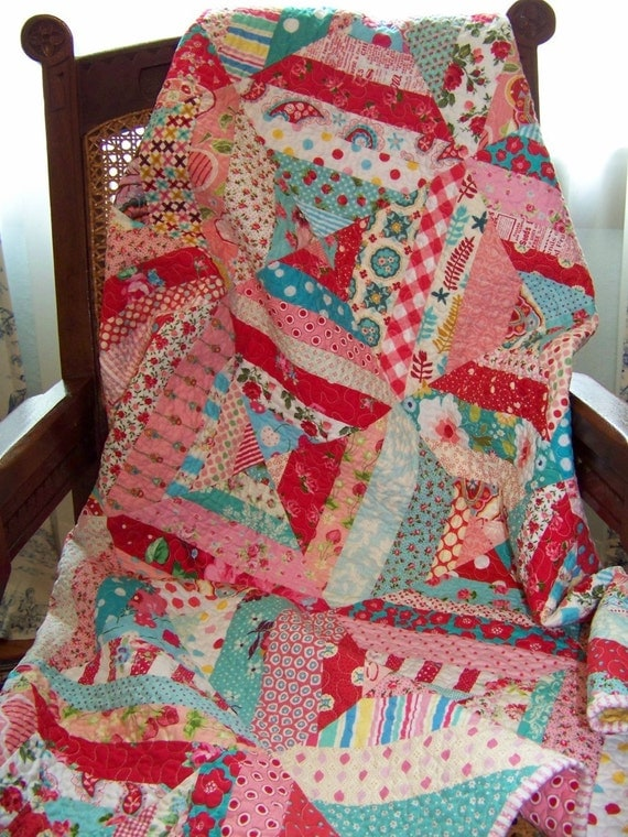 Scrap Basket String Quilt - Aqua, Pink and Red - Baby Girl, Toddler, Table Topper