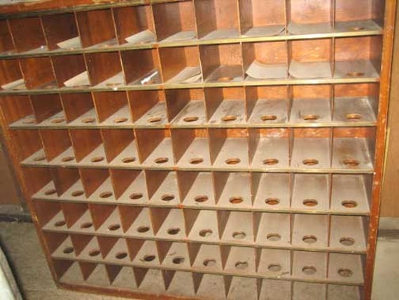 Vintage Post Office Postal Mail Room Sorter 80 Cubbies Cubby