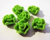 Little Fancy Flora Flower Cabochons - 14mm - Qty 6 - Green