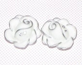 New Style Rose Flower Cabochons with Rhinestones - 30mm - Qty 2 - White with silver outline