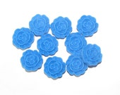 FC1201-07 --- Flower Cabochons - small 12mm - 10pcs - Primary Blue