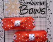 Sunburst Bows Boutique Tuxedo Bow Pigtail Set ORANGE POLKA DOTS French Clip Barrettes