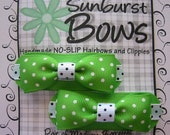 Sunburst Bows Boutique Tuxedo Bow Pigtail Set GREEN POLKA DOTS French Clip Barrettes