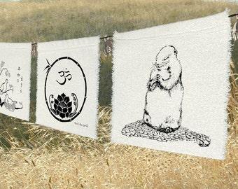 Bunting - 3 group prayer flags Yoga group-Om-Peace-heart-compassion-namaste-home-decor-Yoga-Lotus-Meditation-Altar-Shrine-Sympathy-memorial