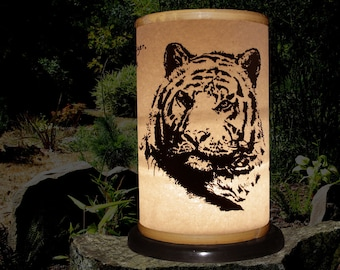 "Candle Holder (Shoji Lantern-TIGER) ""Tiger, Tiger, Burning Bright""-William Blake-Endangered-Large Cat-Asia-Bengal Tiger-garden candlelight"