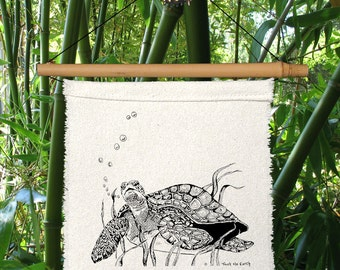 1 Little Prayer (Green Sea Turtle) Banner Holiday Decor Partie Decor Entertaining-ocean-sea turtle-breath-beach-endangered-Buddhist tale