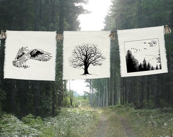 Prayers for the Trees - 3 group-Tree of Life-Oak Tree-Owl-wisdom-Geese-forest-Snowy Owl-tree gift-bunting-Nature-