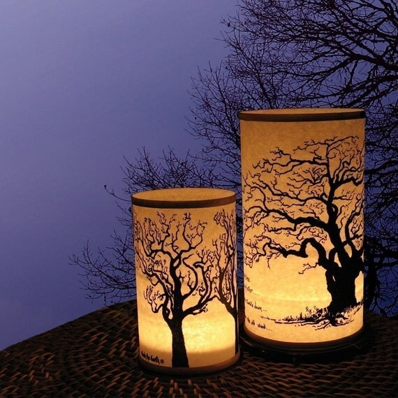 Two Shoji Candle Lantern (Large Tree and standard size Tree) Candles candle holder Gifts Entertaining
