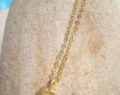 OM OHM AUM tiny vermeil gold charm disc yoga necklace pendant