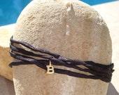 TINY little gold vermeil number or initial silk wrap bracelet