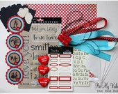 SALE...Red and Turquoise --MY VALENTINE-- Papercrafting/Scrapbooking Kit