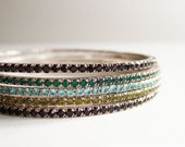 Five Sparkly Bangles - Black, Olive, Aqua, Green