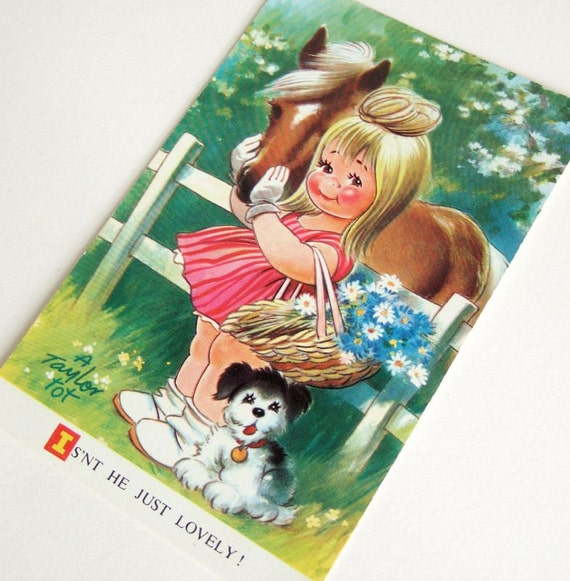 Cute Vintage Postcard of Little Girl and Her Pony