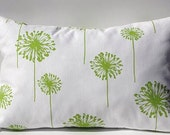 Travel Pillow Cover - Lumbar Pillow Cover - White Background with Chartruese Green Dandelions - 13 x 20 - Invisible Zipper Closure