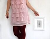 Romantic Dusty Pink Ruffle Dress-size Large