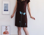 Brown Dress with my Drawing-Butterfly's office affair-size Large