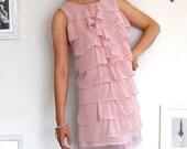 Romantic Dusty Pink Ruffle Dress-size Medium