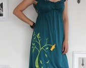 Teal Green Dress with my Drawing-The dancing bird and the falling leaves-size Medium