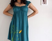Teal Green Dress , Maternity nursing dress -The dancing bird and the falling leaves-size Small