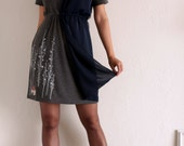 Women's dress . Grey handmade appliqué dress- Surrounded by big trees - size Medium( Last One)