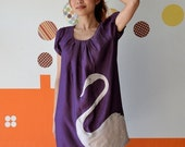 Purple Dress with dusty pink applique - Swan-S\/M\/L