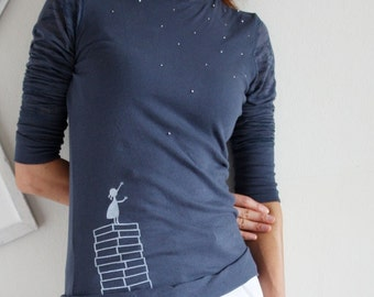 Unique Tshirt for Women . Handmade blue grey long sleeves T-shirt with beads applique - A Little Girl's Wishes
