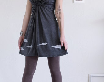 Women soft knit dress . Grey Jersey Dress . V-neck Dress . Casual Day Dress - Paper Airplanes