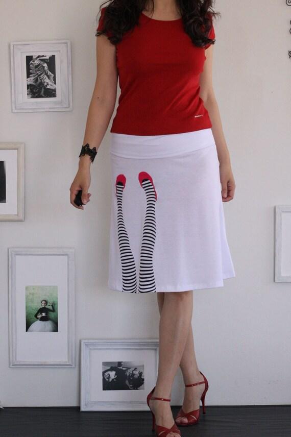 white knee length summer skirt legs on the wall s m l