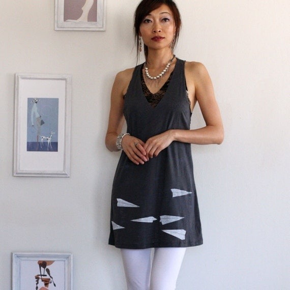 Racer Back Grey Tank Dress . Handmade tunic - Paper Airplanes - size Small