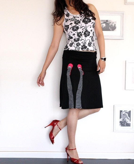 black knee length summer skirt legs on the wall size small