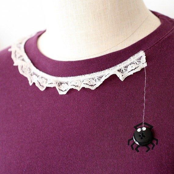 Plum T-shirt with Hand-painted Button and Lace-Spider's lace-size XL