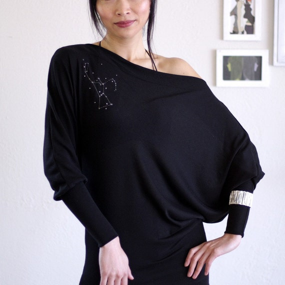 Handmade Black Long Sleeve Asymmetrical Mini Dress-The Hunter Constellation-size S ( Last One )