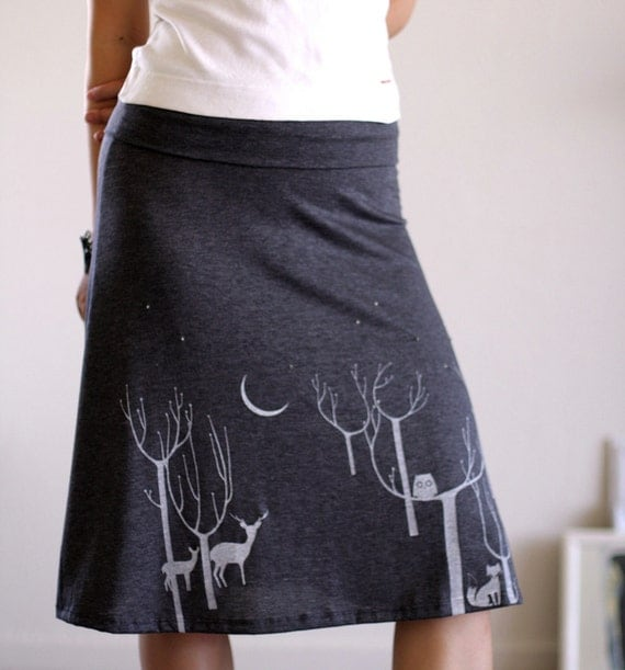 Handmade appliqué skirt . Grey Jersey Knee Length A-line Skirt - Lovely Neighbors From the Woods-size Medium