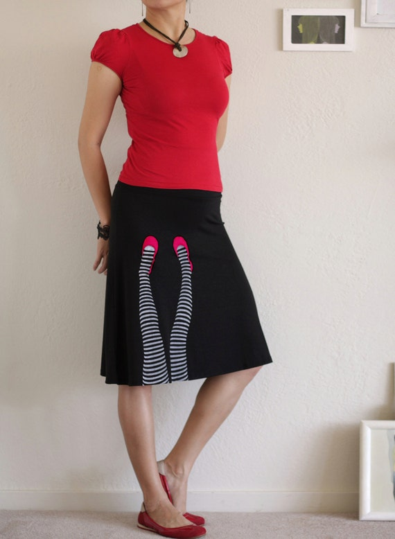Black handmade knee length a-line skirt . plus size skirt -Legs on the wall-size Extra Large