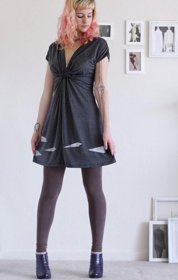 Women soft knit dress . Grey Jersey Dress . V-neck Dress . Casual Day Dress - Paper Airplanes