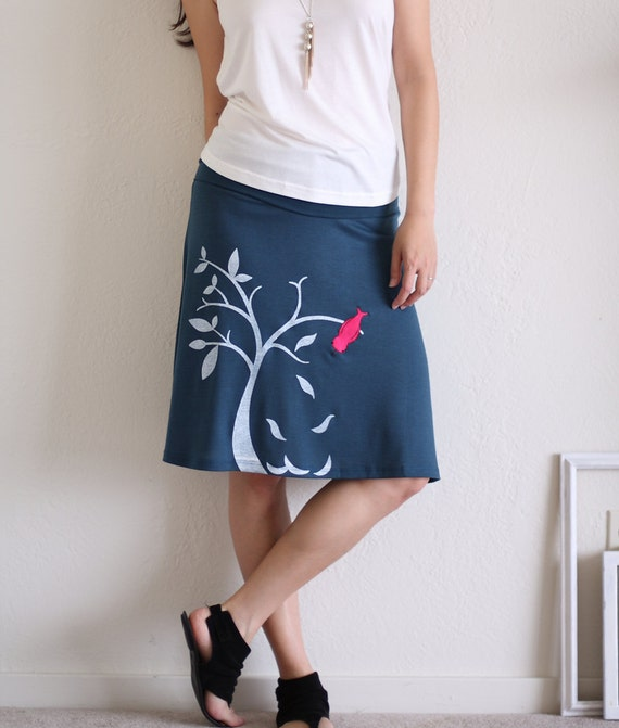 Bird Tree Skirt . Teal Blue Knee Length A line Skirt . Plus size Skirt-The bird and the falling leaves-size Extra Large