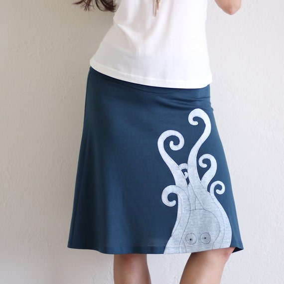 Teal blue knee length A line Skirt . Jersey maternity plus size skirt - Giant Octopus - size Small