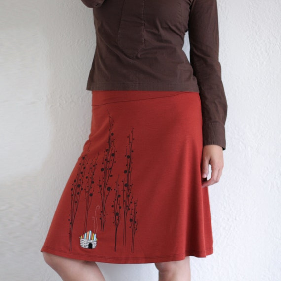 Orange Knee Length A-line Skirt . Handmade appliqué Maternity skirt - Surrounded by big trees - size Small