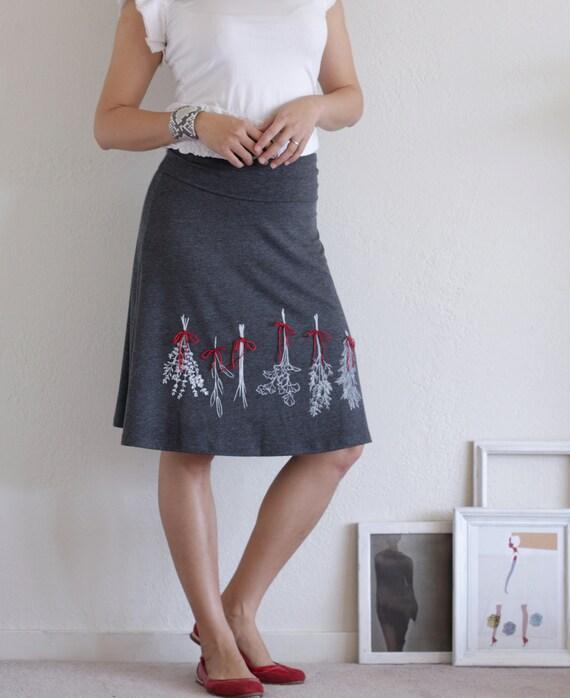 Handmade appliqué skirt . Grey skirt . Knee length skirt . A-line skirt - Preserve some herbs - size Large