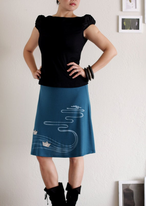 Womens Knee Length Skirts .Teal Blue A-line skirt. Flowy Soft Jersey Skirt - The creek and the paper boats - size Large