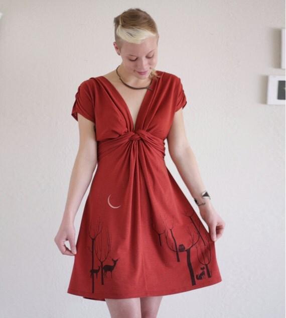 Handmade Woodland Dress . Rusty Orange V-neck Dress - Lovely Neighbors From the Woods-size Large