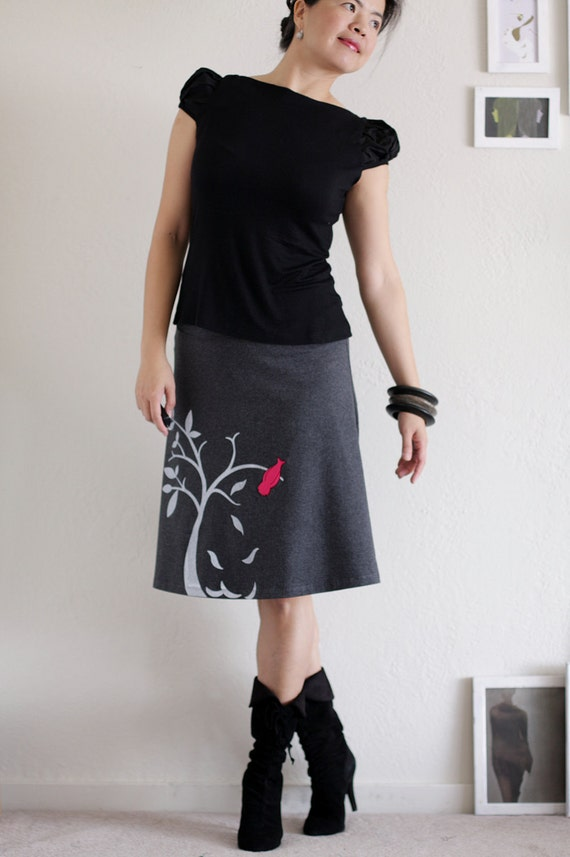 Handmade appliqué cotton A-line skirt . Grey Knee Length Skirt - The bird and the falling leaves - size Medium