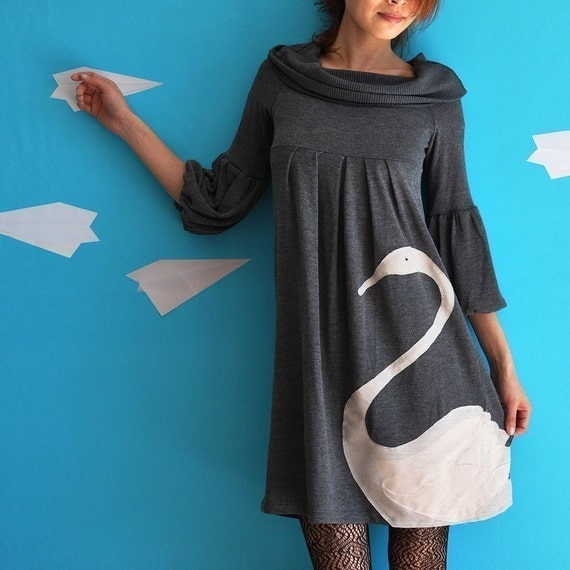 Grey Dress with dusty pink applique - Swan-S\/M\/L